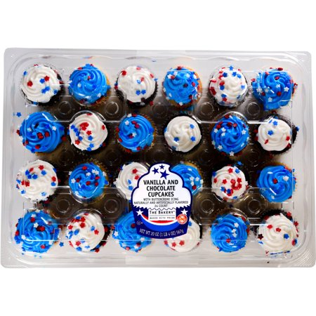 The Bakery Mini Patriotic Vanilla And Choloclate Cupcakes 20 Oz 24 Count
