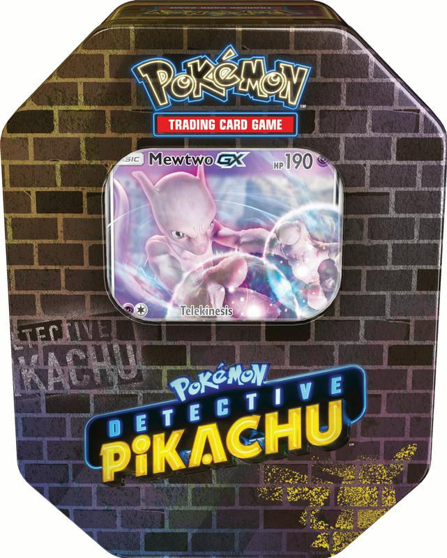Pokemon Detective Pikachu GX Tin- Mewtwo Includes 1 Foil Mewtwo GX card | 4 Booster Packs from Detective... by Pokemon