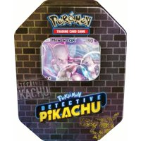 Pokemon Detective Pikachu GX Tin- Mewtwo - Includes 1 Foil Mewtwo GX card | 4 Booster Packs from Detective Pikachu series