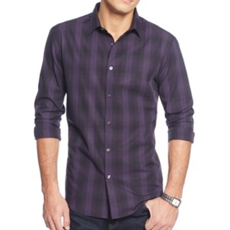 Alfani new purple mens medium m plaid long sleeve button for Mens medium long sleeve shirts