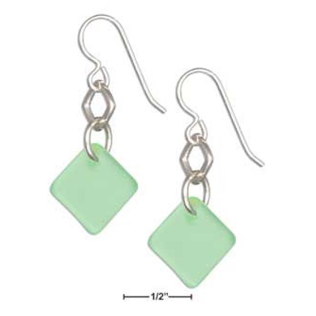 Sterling Silver Seafoam Green Sea Glass Geometric Square Dangle Earrings - image 1 de 1