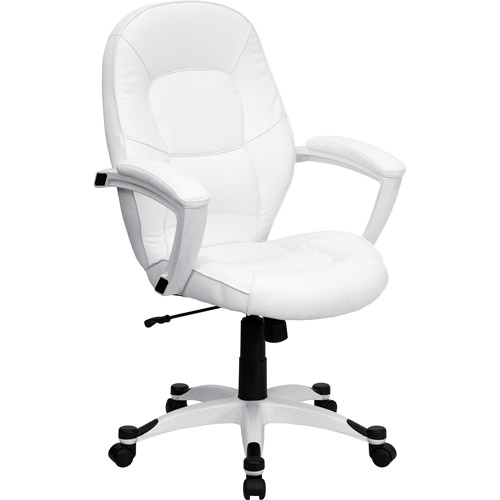 Flash Furniture Mid-Back Leather Executive Office Chair with Arms, White
