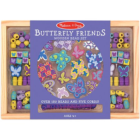 Melissa & Doug Butterfly Friends Wooden Bead Set With 150+ Beads for Jewelry-Making