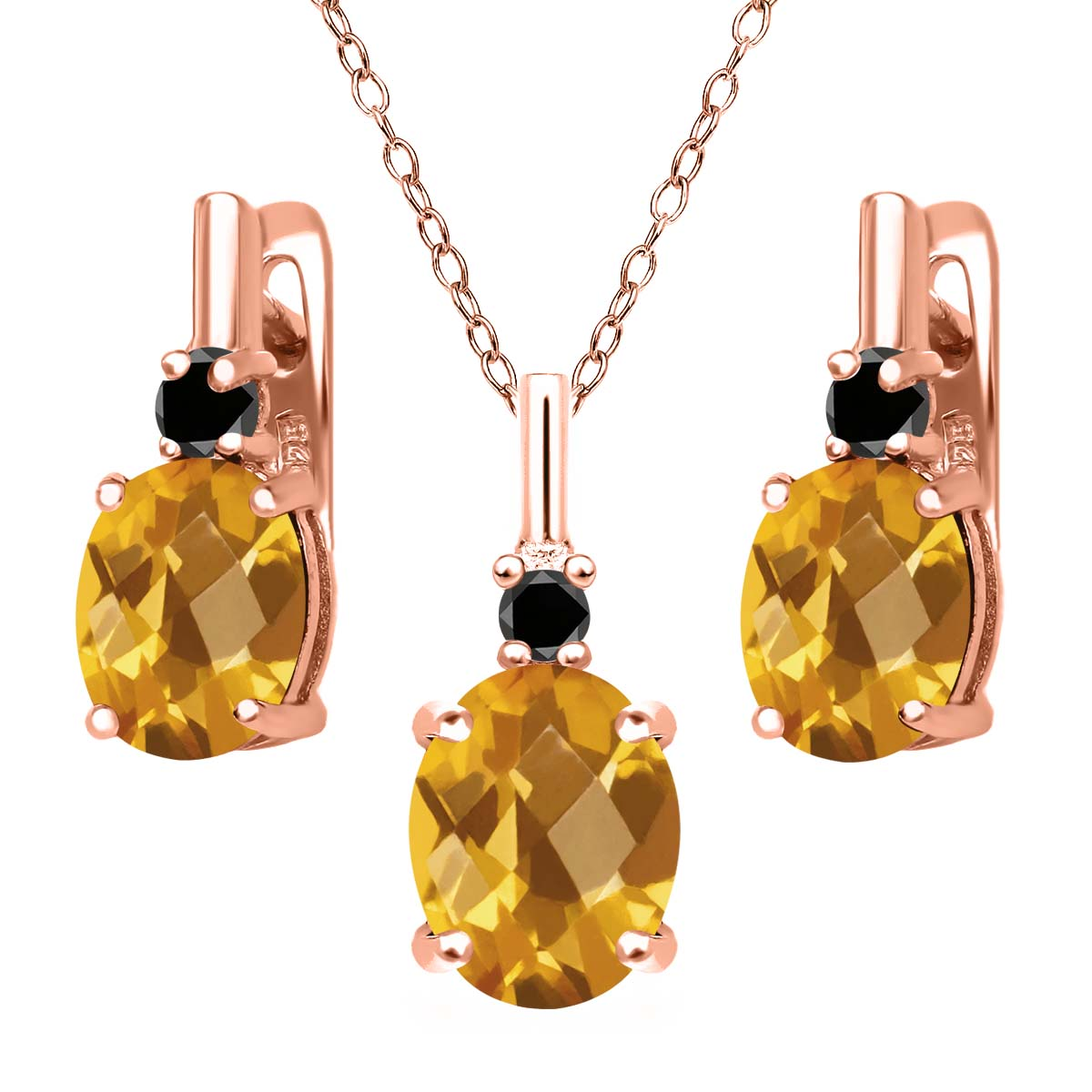 4.87 Ct Oval Checkerboard Yellow Citrine Black Diamond 18K Rose Gold Plated Silver Pendant Earrings Set by