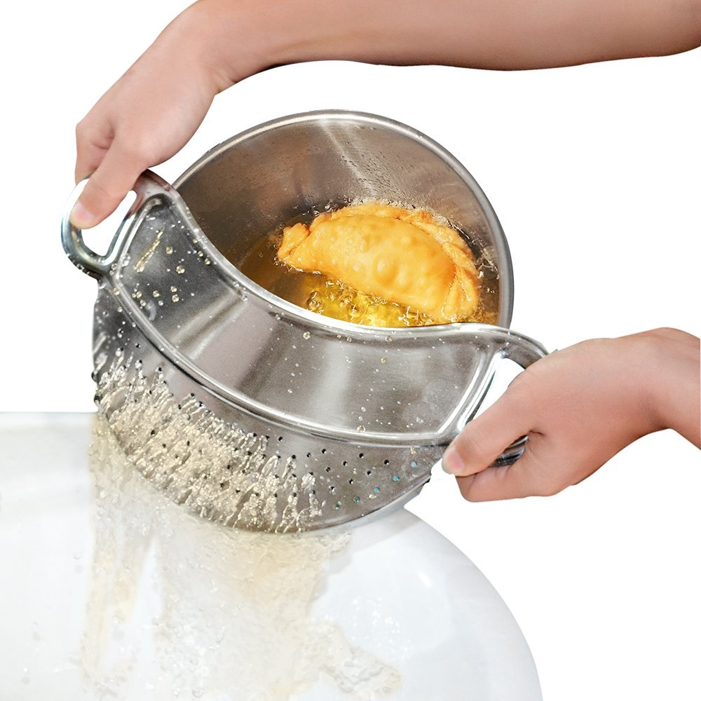Click here to buy Clip-on Kitchen Food Strainer,Strainer,Steel Colander,Pasta Strainer Dishwasher Safe Colander Perfect For Draining Pasta, Vegetables,....
