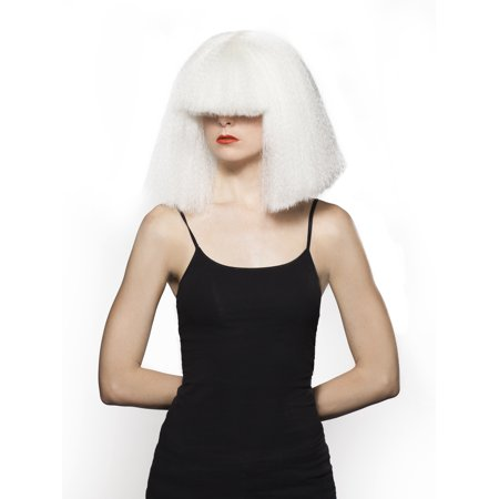 Chandy Wig - White Sia Chandelier Singer Hair Covers Eyes Costume Halloween - Geisha Wigs Sale