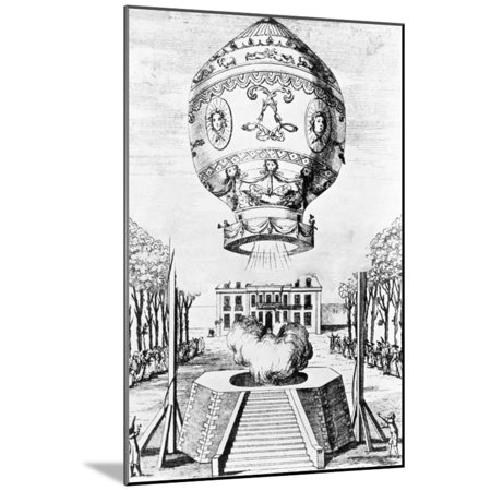 Engraving of the First Flight of Humans in a Hot Air Balloon Wood Mounted Print Wall - Engraved Balloons