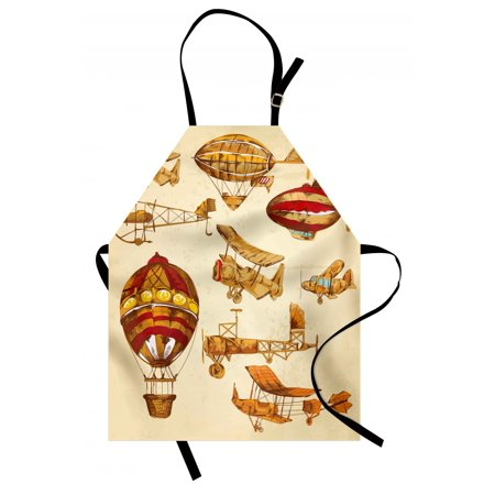 Aviation Apron Vintage Old Flying Objects Hot Baloons Planes Parachutes Print, Unisex Kitchen Bib Apron with Adjustable Neck for Cooking Baking Gardening, Sand Brown Apricot Mustard Red, by