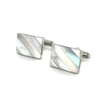 Stainless Steel Mother of Pearl Inlay Cufflinks