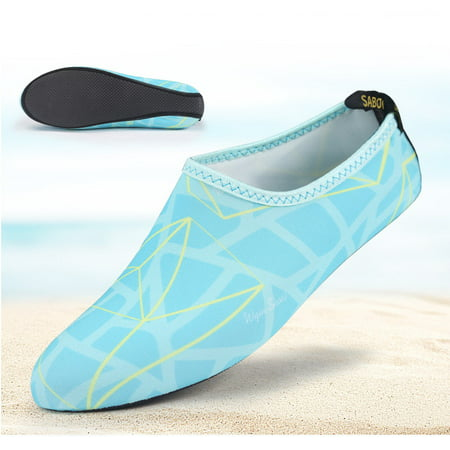 Barefoot Water Skin Shoes, Epicgadget(TM) Quick-Dry Flexible Water Skin Shoes Aqua Socks for Beach, Swim, Diving, Snorkeling, Running, Surfing and Yoga Exercise (Blue/Yellow, XL. US 9-10 EUR