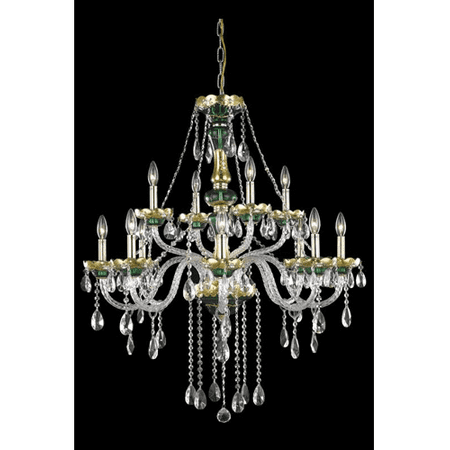 - Pendants Porch 12 Light With Clear Crystal Royal Cut Green size 33 in 720 Watts - World of Classic