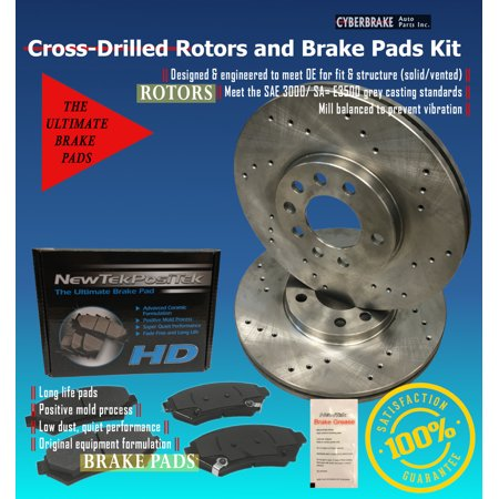 DK1522-8D Rear Drilled Rotors and Ultimate HD Ceramic Brake Pads Kit Pbr Ultimate Ceramic Brake Pad