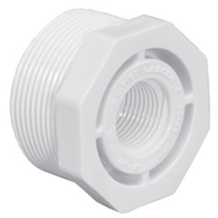 "Lasco PVC Reducing Bushing, MNPT x FNPT, 1-1/4"" x 3/4"" Pipe Size - Pipe Fitting"