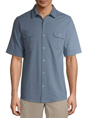 George Men's and Big Men's Ultra Soft Knit Short Sleeve Button-down Shirt