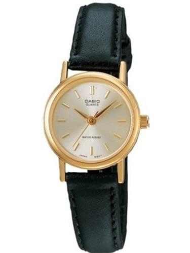Casio Women's LTP1095Q-7A Black Leather Quartz Watch with Silver Dial