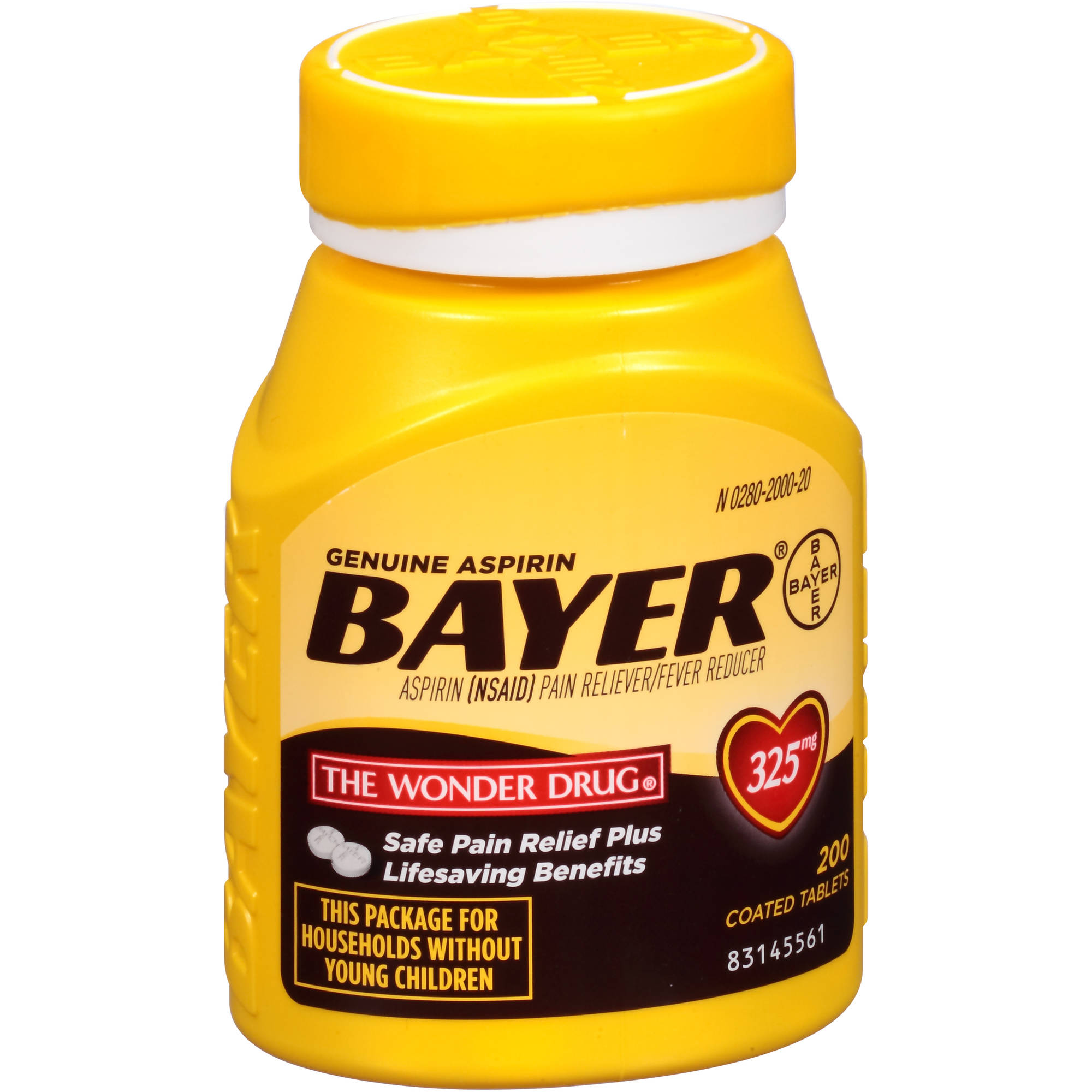Genuine Bayer Aspirin Coated Tablets, 325mg, 200 count