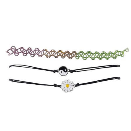 Lux Accessories Tattoo Choker Yin Yang Sunflower Hippie Jewelry Choker Set 3PCS