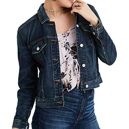 New  American Eagle Womens Classic Denim Jacket, Blue (XS) (American Eagle Jackets)