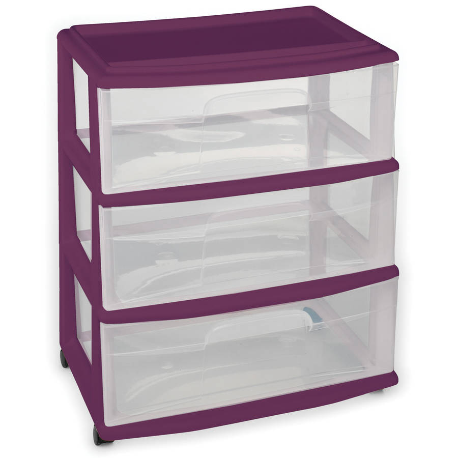 Homz Wide 3-Drawer Cart with Clear Drawers, Exotic Purple
