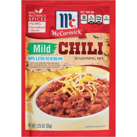 McCormick Chili Seasoning Mix Mild 30% Less Sodium 1.25 oz