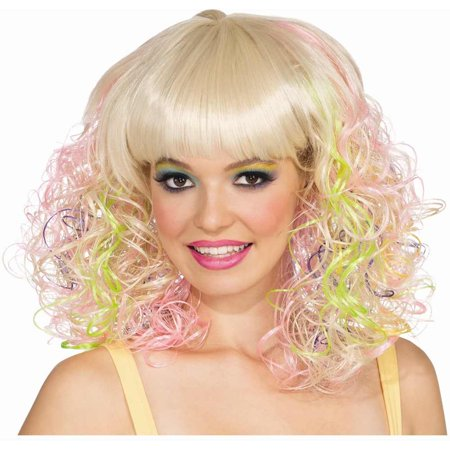 Adult Womens Pastel Large Curl Blonde Pink Yellow Long 80s Rave - 80s Wigs