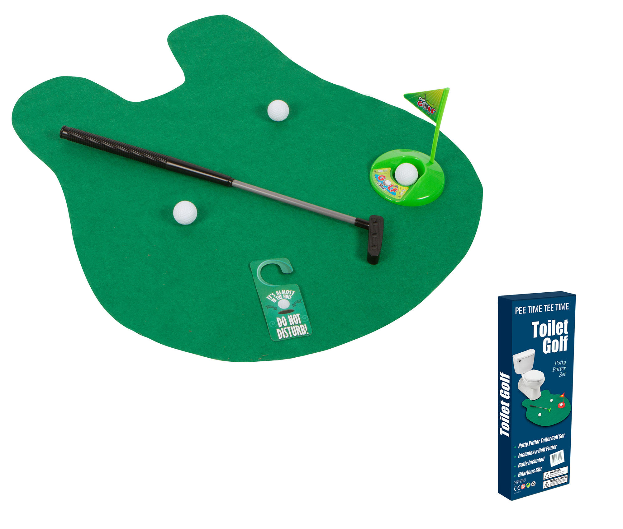 Toilet Golf Joke & Novelty Set Play Golf on the Toilet By EZ Drinker by Trademark Innovations