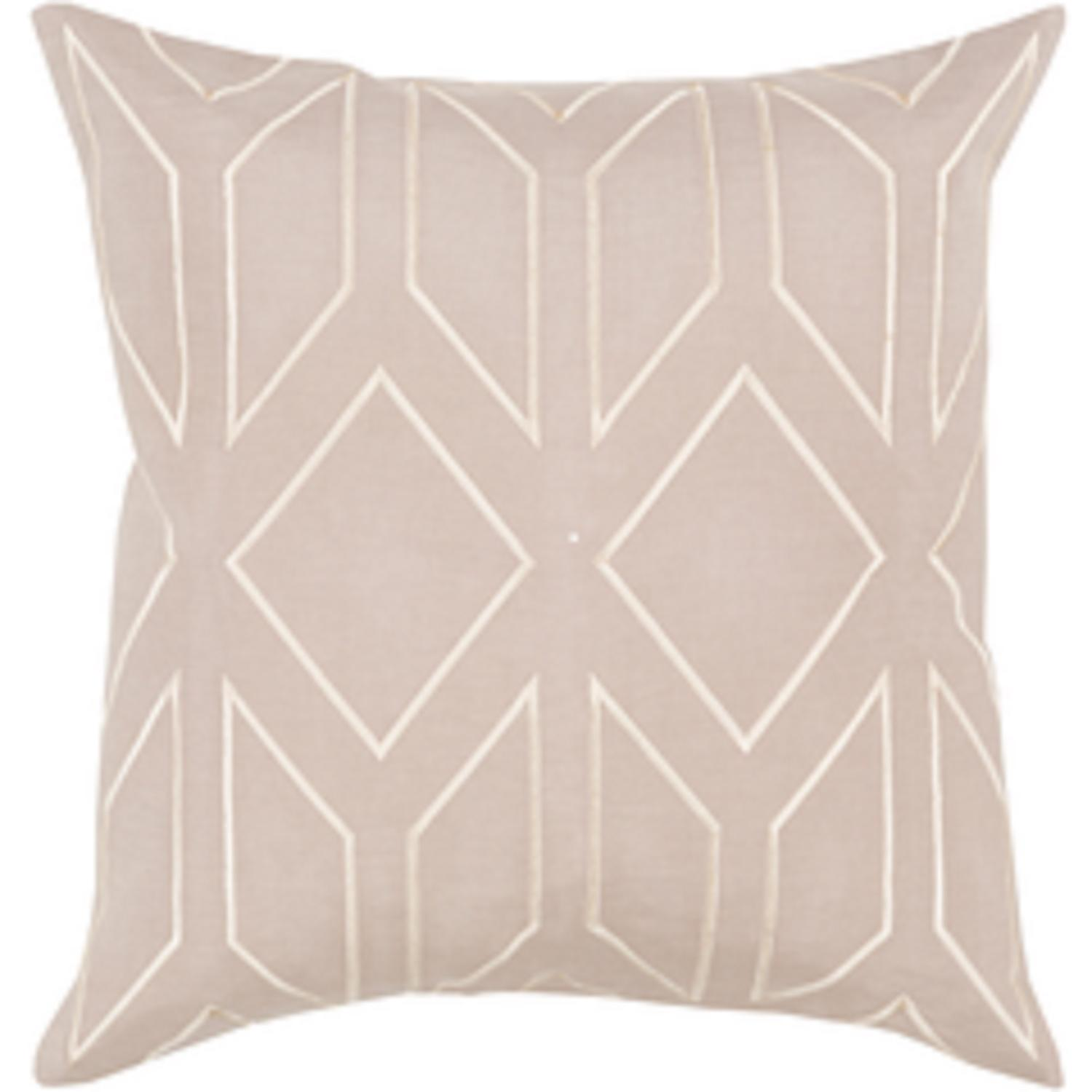 """20"""" Diamond Bliss Pale Taupe and Old Lace Decorative Throw Pillow - Down Filler"""