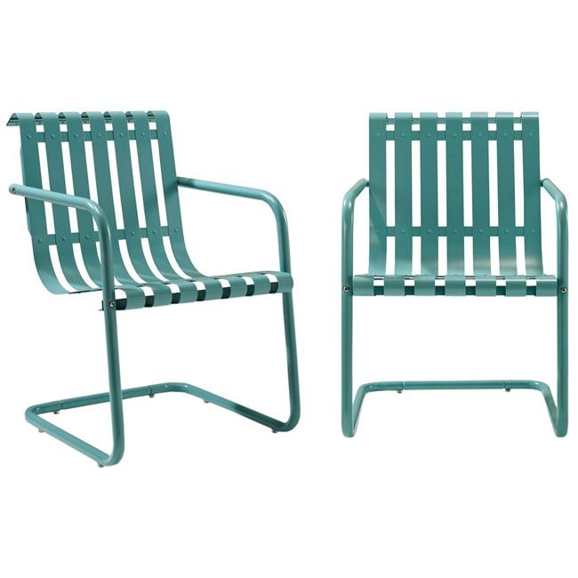Gracie Retro Metal Outdoor Spring Chair - Caribbean Blue