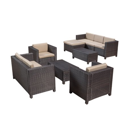 Raleigh 9 Piece Outdoor Wicker Conversation Sectional Set with Cushions ()