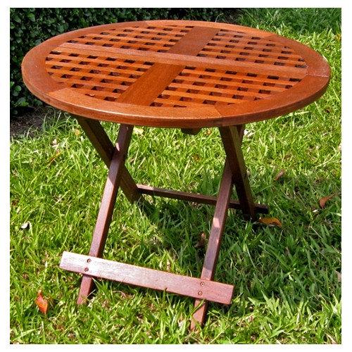 International Caravan Acacia Patio Checkerboard Round Folding Side Table