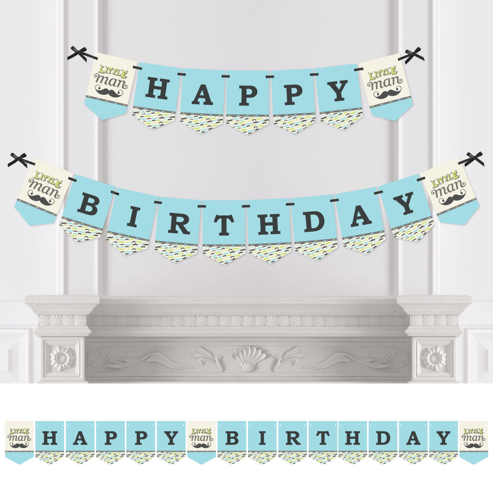 Dashing Little Man - Birthday Party Bunting Banner - Mustache Bash Party Decorations - Happy Birthday