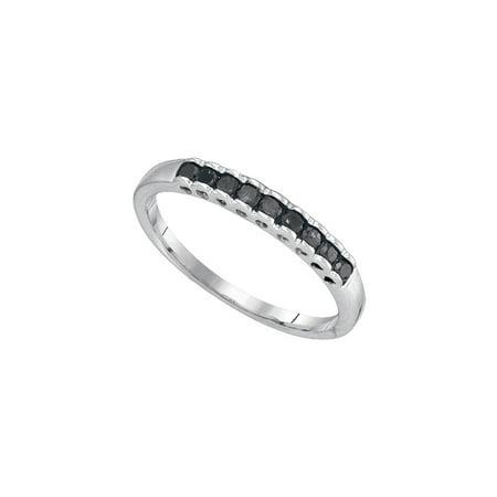 Ct Tw Princess Diamonds Band - 10kt White Gold Womens Princess Black Colored Diamond Band Ring 1/4 Cttw