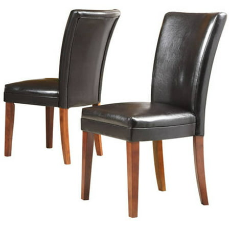Set of 2 Side Chairs, Dark Brown Faux Leather