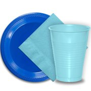 """50 Dark Blue Plastic Plates (9""""), 50 Light Blue Plastic Cups (12 oz.), and 50 Light Blue Paper Napkins, Dazzelling Colored Disposable Party Supplies Tableware Set for Fifty Guests."""