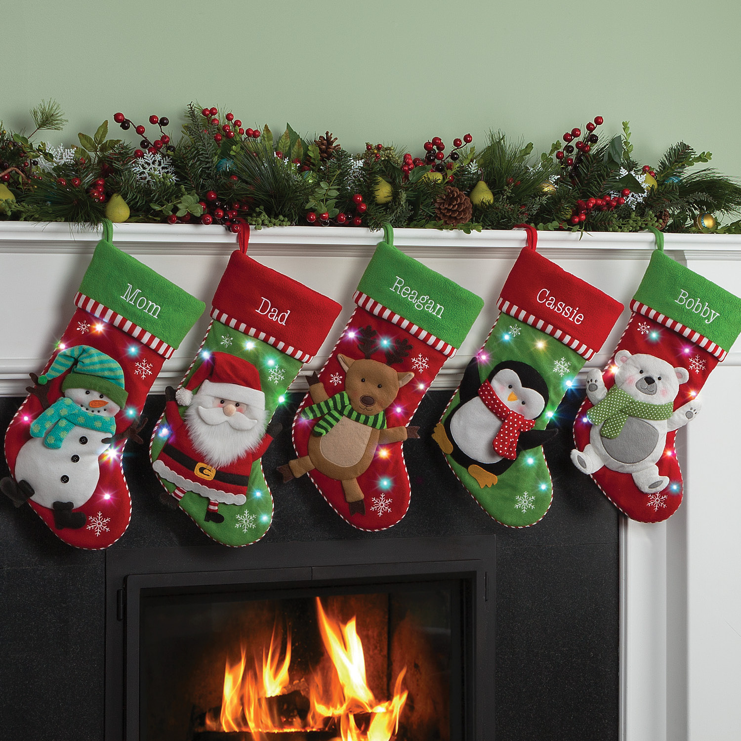 Personalized LED Light Up Christmas Stocking with 5 Styles to Choose From