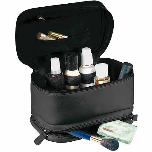 "Royce Leather ""Victoria"" Cosmetic Travel Bag in Full Grain Milano Cowhide"