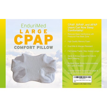 CPAP Pillow - New Memory Foam Contour Design Reduces Face & Nasal Mask Pressure, Air Leaks - 2 Head & Neck Rests For Spine Alignment & Comfort - CPAP, BiPAP & APAP Machine Stomach Back & Side Sleepers