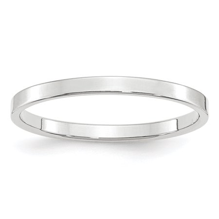 14K White Gold 2mm Light Weight Flat Band Size 4 to 14