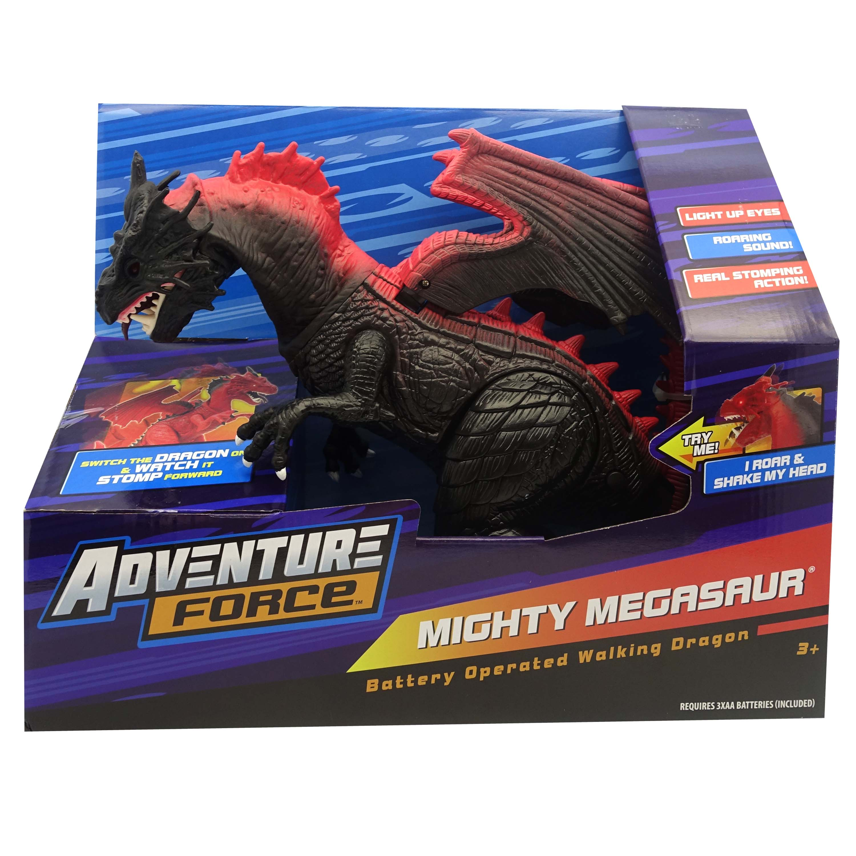 Adventure Force Mighty Dragon Battery Operated Walking Toy, Black