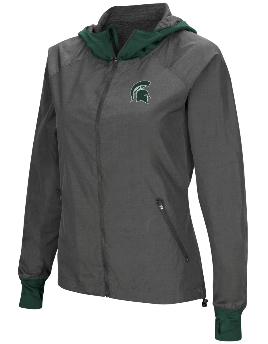 "Michigan State Spartans NCAA Women's ""Backside"" Full Zip Hooded Charcoal Jacket by Colosseum"