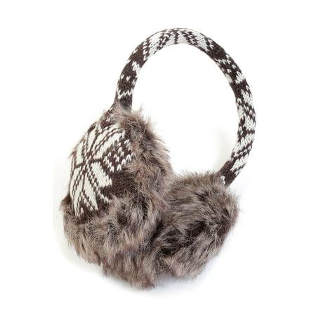 Snowflake Fairisle Faux Fur Trimmed Sweater Knit Earmuffs Warm Winter Ear Covers -- Dark Brown (Knitted Earmuff)
