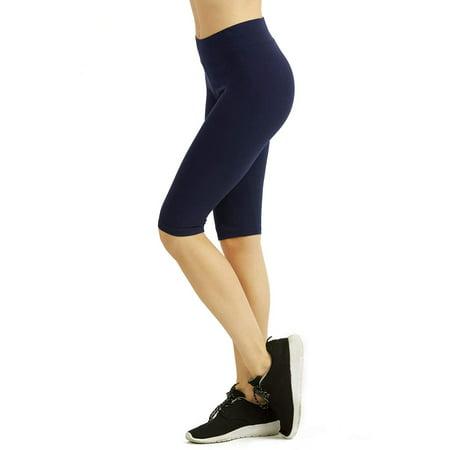 DailyWear Womens Solid Knee Length Short Yoga Cotton Leggings (Navy, Medium)