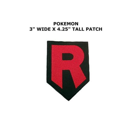 """Athena Pokemon Go Team Rocket R 4"""" Logo Embroidered Iron/Sew-on Applique Patch"""