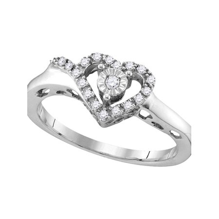 Sterling Silver Womens Round Diamond Heart Love Ring 1/10 Cttw - image 1 of 1