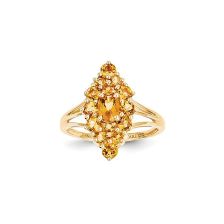 Solid 14k Yellow Gold Simulated Citrine Ring (2mm) - Size 4 ()