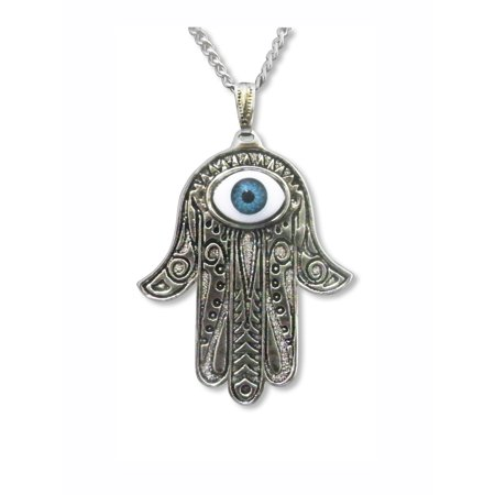 Evil Eye Lucky Hamsa Hand Amulet Silver Finish Pendant Necklace by Real Metal Jewelry