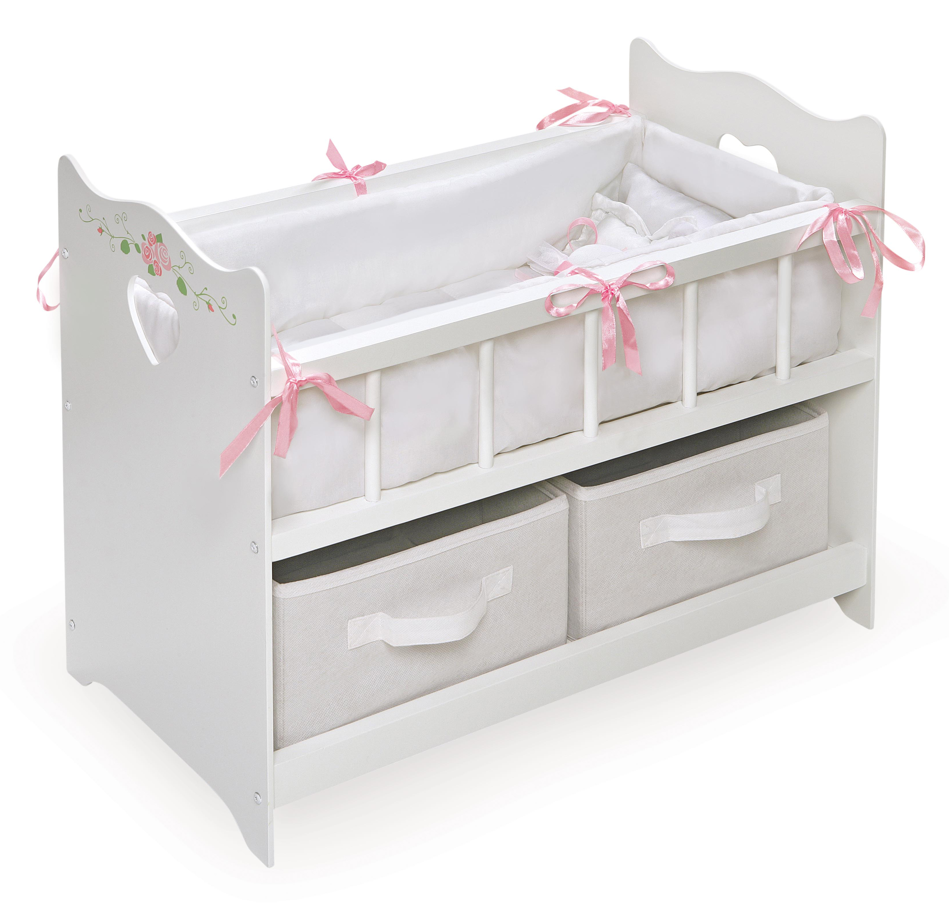 Badger Basket Doll Crib with Bedding and Two Baskets White Rose Fits American Girl, My... by Badger Basket
