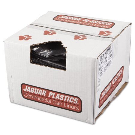 Jaguar Plastics Repro Low-Density Trash Bags, 1.5 Mil, 38 x 58, Black, 10 Bags/Roll, 10 Rolls/CT -JAGR3858H