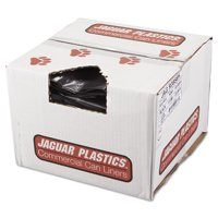 Jaguar Plastics Repro Low-Density Trash Bags, 1.5 Mil, 38 x 58, Black, 10 Bags/Roll, 10 Rolls/CT -JAGR3858H