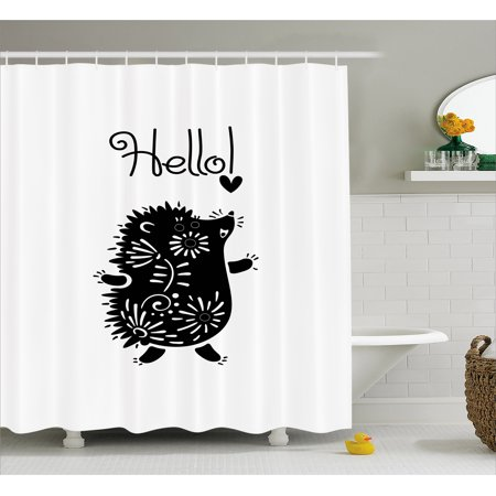 Hedgehog Shower Curtain Black And White Doodle Animal With Spikes Flowers Hello Quote Funny Illustration